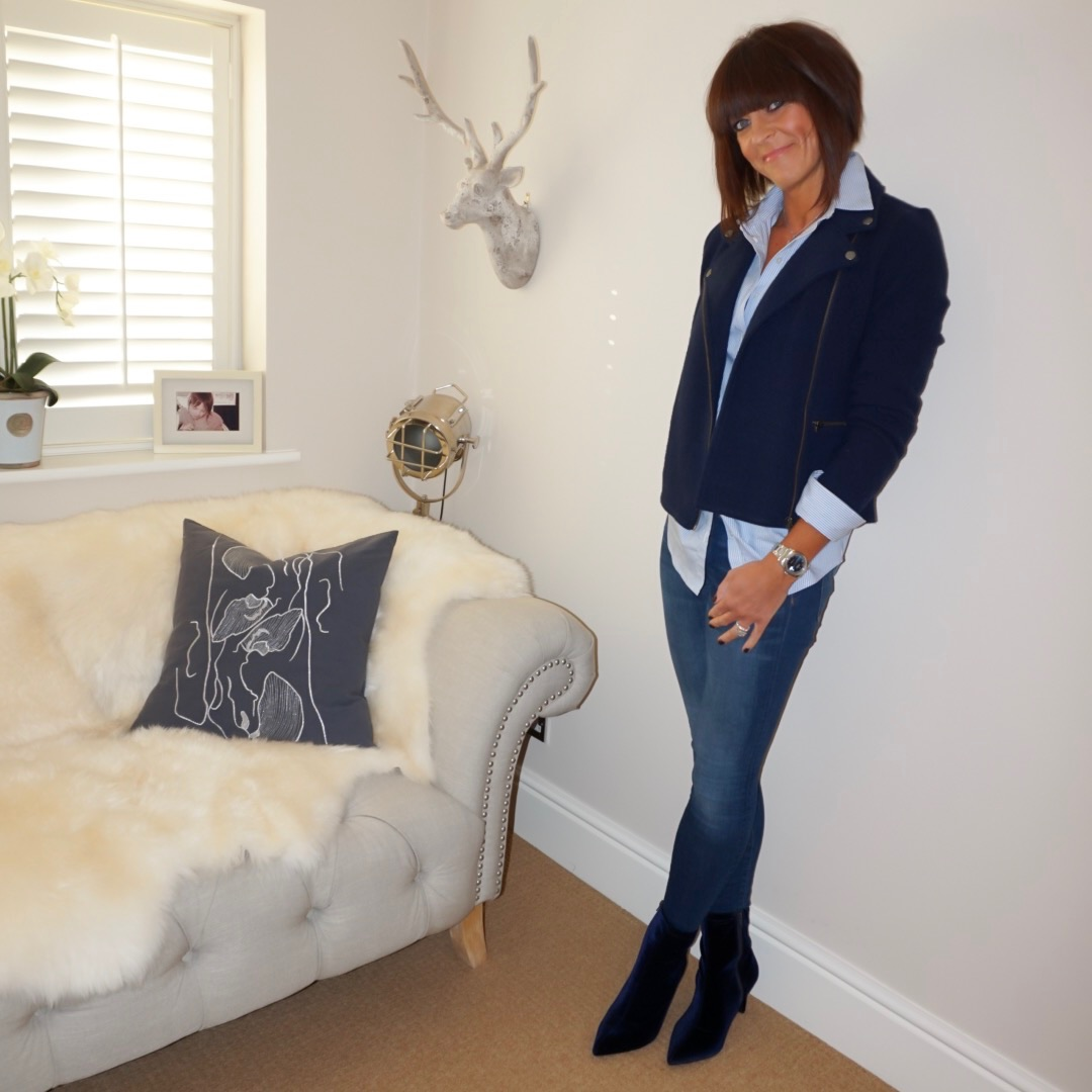 "my midlife fashion, laura ashley boiled wool biker jacket, village england misterton necklace, baukjen stripe shirt, j crew 8"" toothpick jeans, marks and spencer stiletto heel side zip ankle boots"
