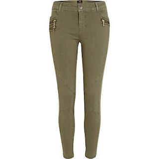 River Island Khaki Skinny Ankle Grazer Combat Trousers