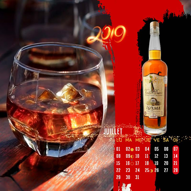 calendrier chevalet rhum vieux vanille Dzama juillet