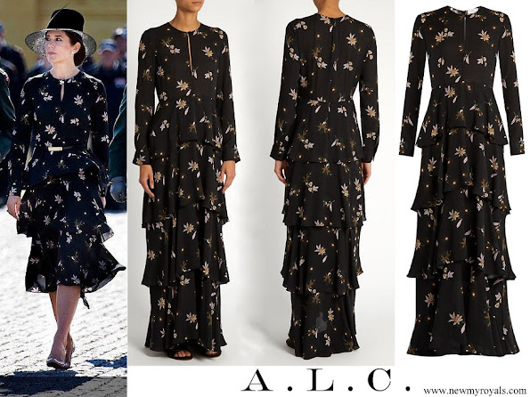 Crown Princess Mary wore A.L.C. Christianne Floral-print Silk Midi Dress