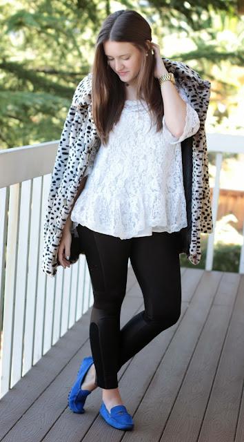 leather leggings, leather look leggings, leather panel leggings, preppy leggings, fur coat