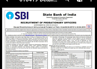 SBI PROBATIONARY OFFICERS RECRUITMENT OFFICAL NOTIFICATION FOR-2000 POSTS IN 2019