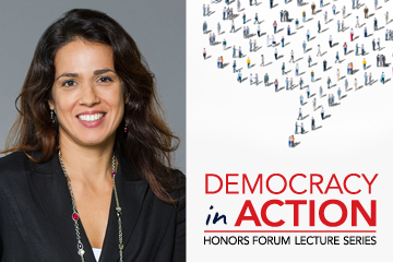 Image of Democracy in Action logo and photo of Alessandra Soler