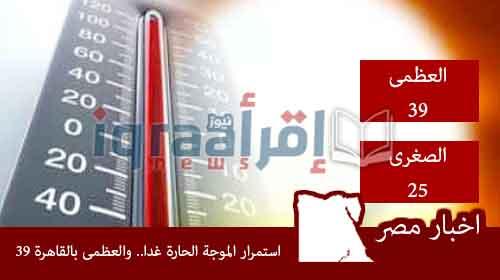 توقعات حالة الطقس غدا السبت 25-6-2016 | اخبار الطقس ودرجات الحرارة فى مصر السبت 26 يونيو