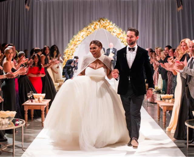 Serena Williams Alexis Ohanian walking down the isle