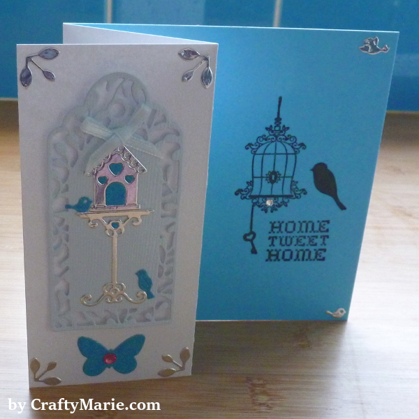 Hunkydory Cardmaking Collection Issue 4 Free Dies and Stamps birdhouse card design in blue and silver stamped images and die cuts
