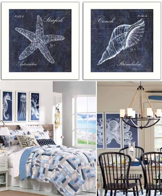 Blue Coastal Sea Life Wall Art Decor Ideas