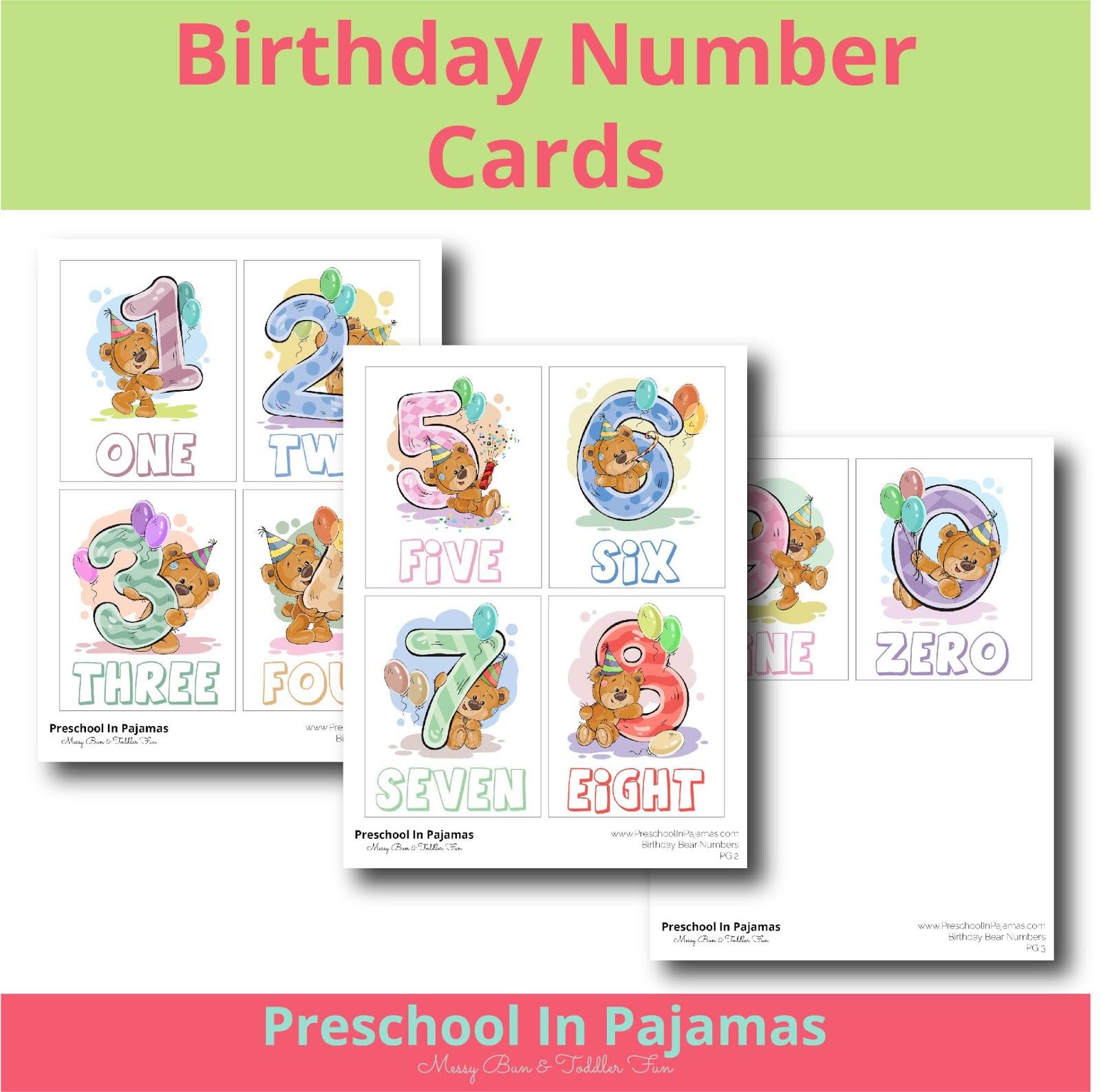 Free Birthday Number Cards Printable