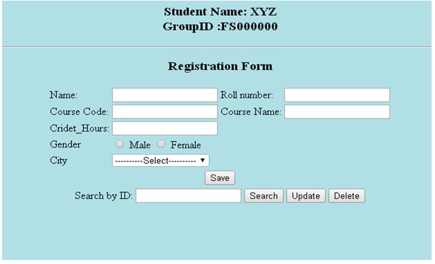 Automation of University Management System Sample Form
