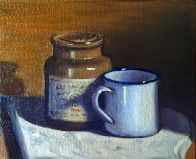Oil painting of an enamel blue and white tin mug in front of an earthenware mustard pot with a cork stopper.  Both have been placed on a slab of white marble.