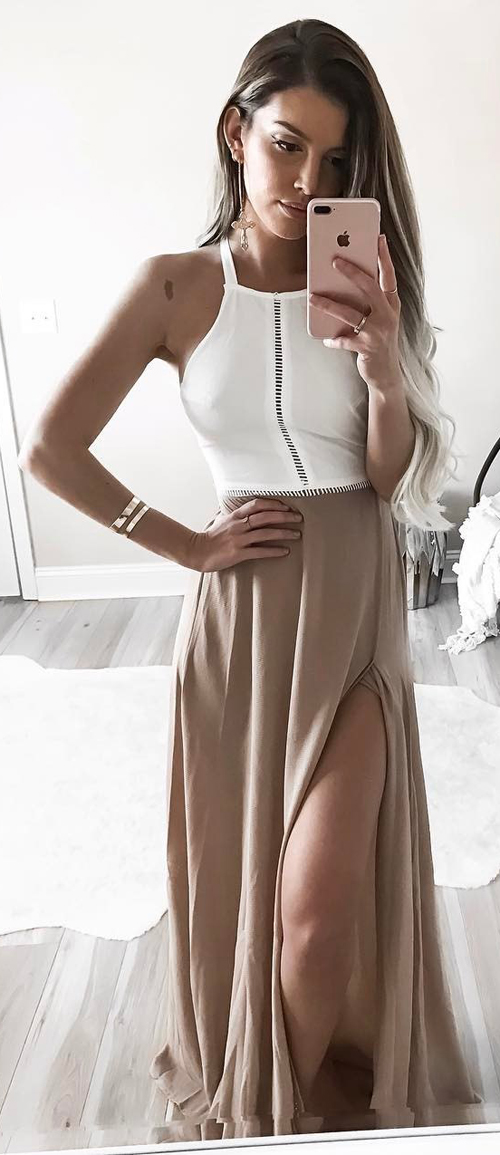 White Beige Dress