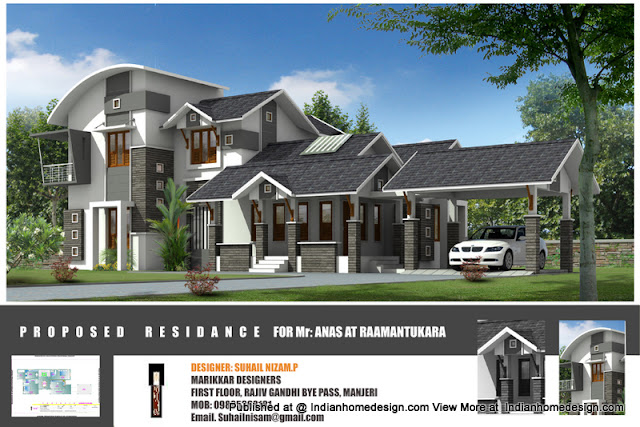 house elevation, House elevations, kerala home plans, kerala homes, kerala house plans, kerala house plans with photo, villa designs.2222 sqft, Creative Exterior Design,