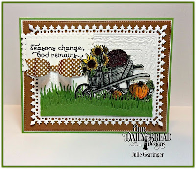 Our Daily Bread Designs, Seasons Change, Wheelbarrow Die, Lavish Layers Dies, Filigree Frames, Pierced Rectangles, Grass Hill Die, Grass Lawn Die, Small Bow Dies, Ephemera Essentials 6x6 Paper Pad, Designed by Julie Gearinger