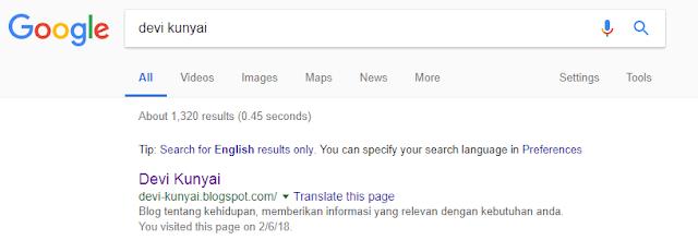 Hasil pencarian devi kunyai di google, menampilkan deskripsi yang jelas dan tidak ambigu.