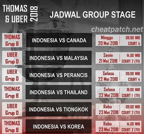 Jadwal Pertandingan Piala Thomas dan Uber 2018