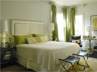 dormitorio en verde y crema