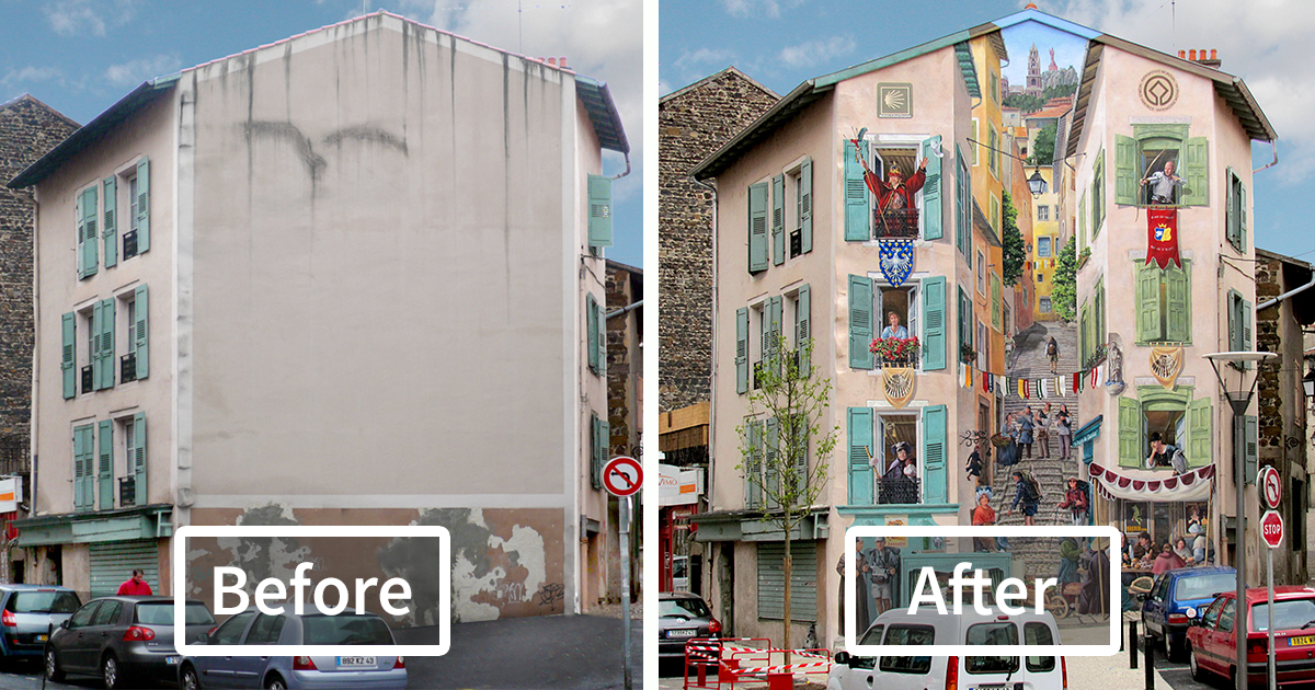 French Artist Transforms Boring City Walls Into Vibrant Scenes Full Of Life
