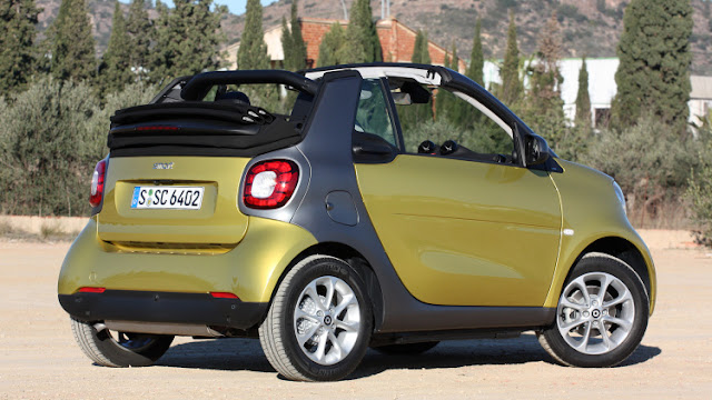 Rear 3/4 view of 2017 smart fortwo cabrio