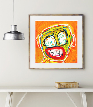 orange art print, abstract art portrait, art print, buy art prints, art print gallery, artist, artwork, original, modern art print, contemporary art print, Sam Freek,