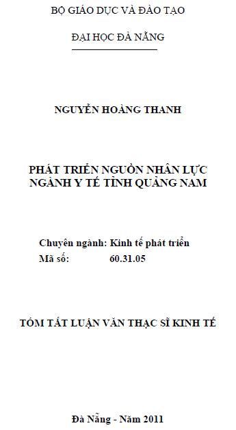 Phát triển nguồn nhân lực ngành y tế tỉnh Quảng Nam