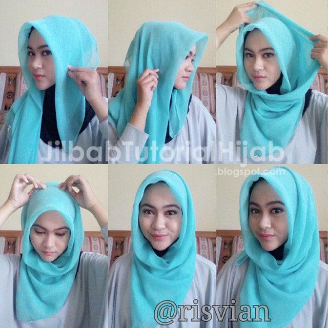 Lengkap dengan gambar dan tata cara menggunakan jilbabnya Tutorial Hijab Segi Empat Simple