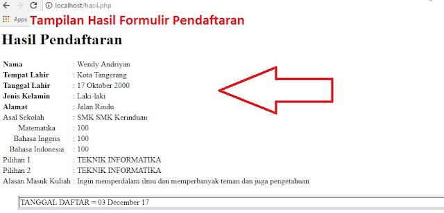 Tampilan Hasil Formulir Pendaftaran
