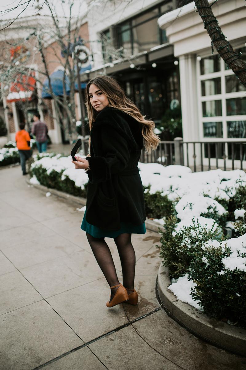 balayge hair, balayage, black coat