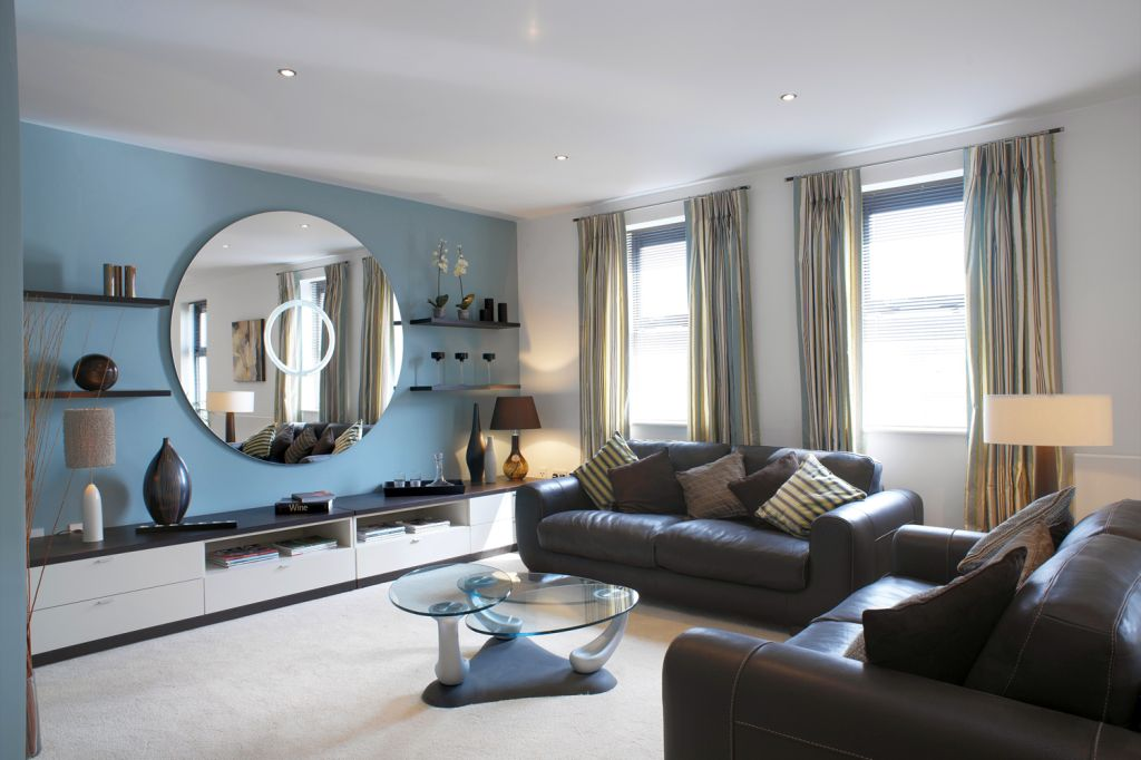 Decorating The Living Room Interior With Blue