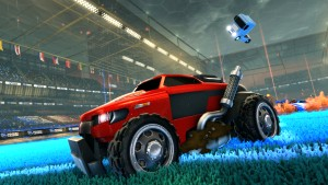 Iconic Rocket League ball and Octane car