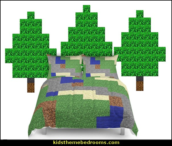 Minecraft bedroom decor   Pixelated Tree Wall Decal