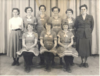 Otautau basketball team, 9 women seated and standing, 1953