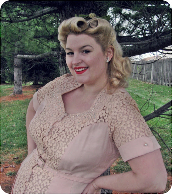 1940s betty grable style victory rolls vintage hair and 1940s plus size pink lace dress via Va-Voom Vintage