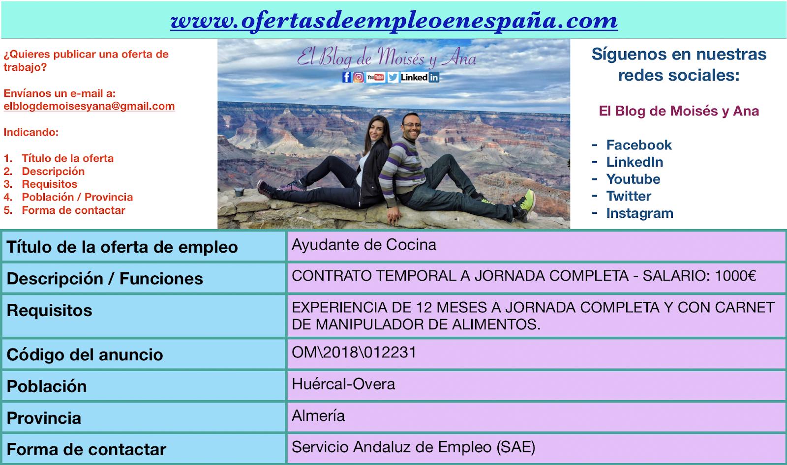 Ofertas de empleo en espa a ayudante de cocina hu rcal - Trabajo de ayudante de cocina en madrid ...