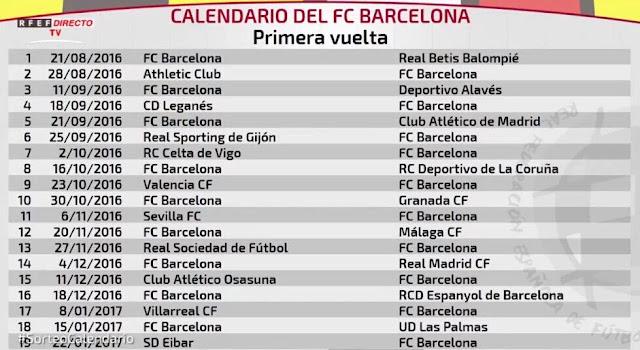 Barcelona La Liga fixtures 2016/2017 1