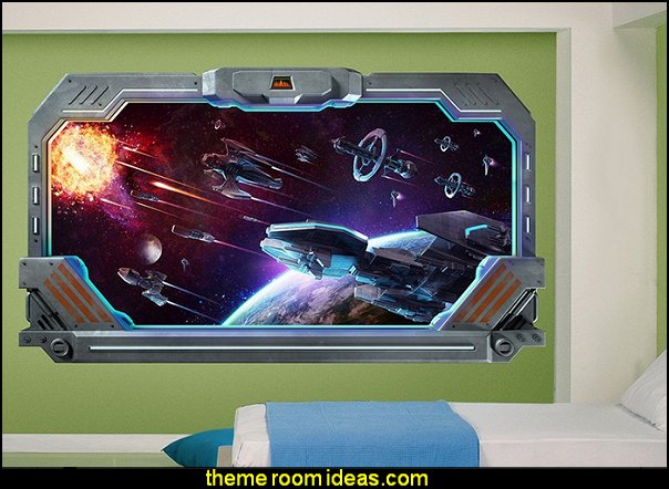 Galactic Battle Window Wall Decal  Star Wars Bedrooms - Star Wars Furniture - Star Wars wall murals - Star Wars wall decals - Star Wars bed - space ships theme beds - Star Wars Bedroom - Star Wars Decor - Sci Fi theme bedrooms - alien theme bedrooms - Stormtrooper Star Wars Theme Beds - Star Wars bedroom decor
