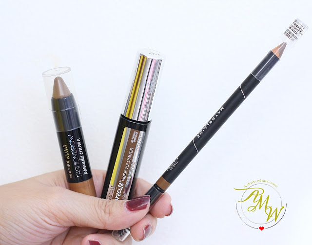 a photo of Maybelline Fashion Brow Precise Shaping Pencil Natural Brown Review, Maybelline FashonBrow Pomade Crayon BR-4 Review.  Maybelline Brow PRecise FIber Volumizer Mascara in Soft Brown Review
