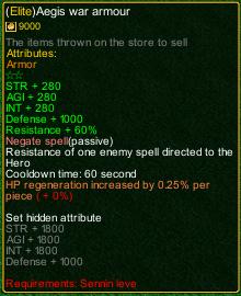 naruto castle defense 6.0 Item Elite Aegis Armor detail