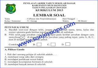 Download Soal PAT Kelas 5 Tema 6 Tahun 2019/2020