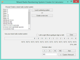 Screenshot of Mixed Radix Calculator