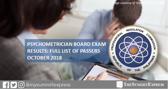 FULL RESULTS: October 2018 Psychometrician board exam list of passers, top 10