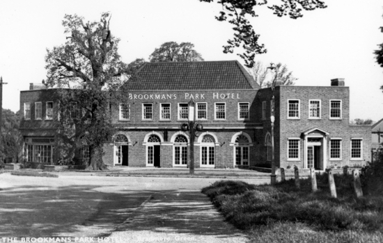 Postcard of The Brookmans Park Hotel in the 1960s. Image from Ron Kingdon and part of the Images Of North Mymms Collection