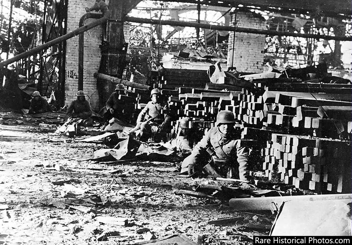 German infantrymen at the Red October factory.