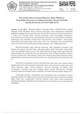raden agus suparman : rekening keuangan saldo 1 milyar wajib dilaporkan ke Ditjen Pajak