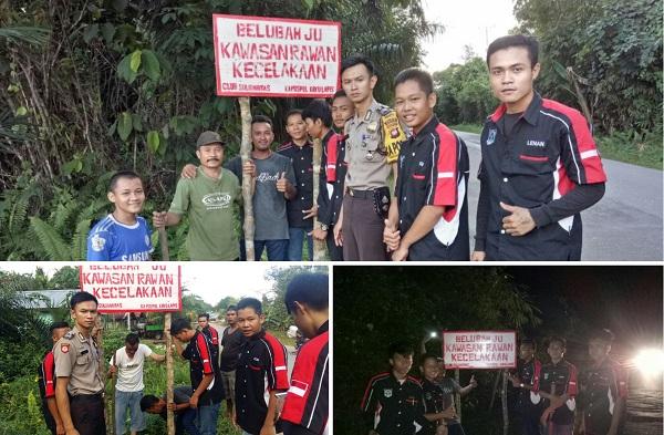 Pasang Plang Himbauan untuk menekan Angka Kecelakaan Sepanjang Jalan Raya Sekadau - Sintang