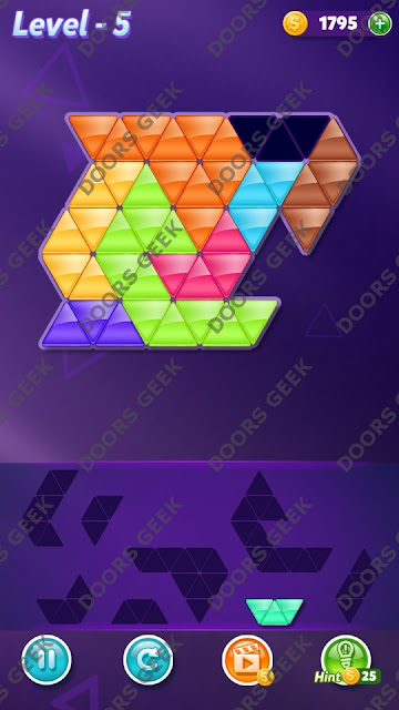 Block! Triangle Puzzle Proficient Level 5 Solution, Cheats, Walkthrough for Android, iPhone, iPad and iPod