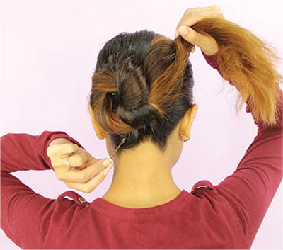 Infinity Bun hairstyle tutorial setp 5