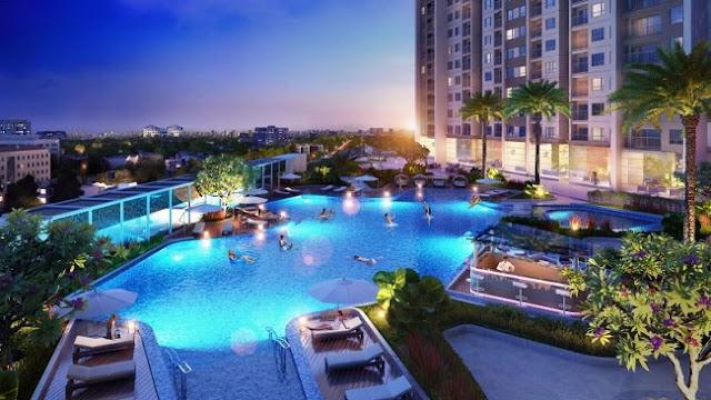 Bể bơi tầng 6 tòa A&B chung cư Tân Hoàng Minh Trần Duy Hưng