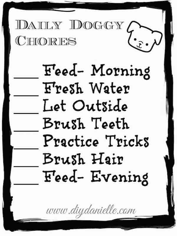 Dog Care Chore Checklist For Toddlers Free Printable DIY Danielle
