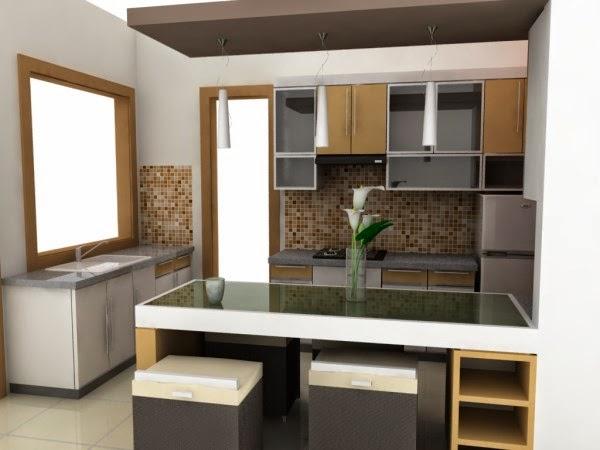 Desain dapur mungil dan meja makan yang elegan