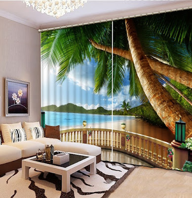 3D curtain graphics for living room window 2019